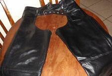 "Xelement Leather Chaps Motorcycle Pants Zippers & Snaps 36""  waist EUC"