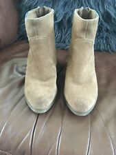 Light Brown, Tan Suede Ankle Boots. 38