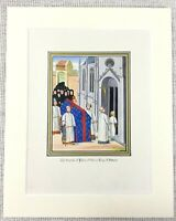 1844 Antique Print Funeral of Philip of Valois King of France Medieval French