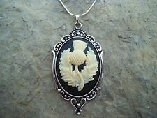 BEAUTIFUL SCOTTISH THISTLE (EMBLEM OF SCOTLAND) CAMEO NECKLACE- .925 PLATE CHAIN
