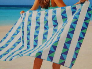 Blue Stripe Triangles Packable Beach Towel Travel Pack and Go Bag Included