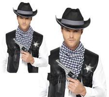 Western Kit Black Wild West Cowboy Hat Neckscarf Mens Fancy Dress Outfit New