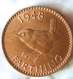 1948 GREAT BRITAIN FARTHING - Excellent Coin - FREE SHIP - Farthing Bin #2