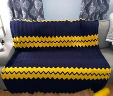 Hand made crocheted Afghan. Dark Blue And Yellow