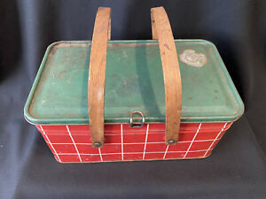 Tin Picnic Biscuit Basket Salerno Cookies Crackers; Wood Handles Red/Green/White