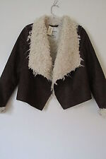 Aeropostale Brown Faux Suede Sherpa Fur Open Front Jacket SIZE:M NWT