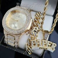 "MEN HIP HOP GOLD PT WATCH & ICED CUBAN BRACELET & RAPPER W/ 24"" ROPE NECKLACE"