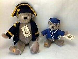 """Merrythought Father & Son 17"""" & 11"""" Bears in Sailor Suits Limited Edition Signed"""