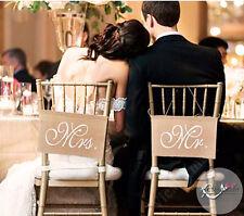 Wedding Hessian Chair Sash Mr Mrs Banner Burlap Vintage Rustic Party Decorations