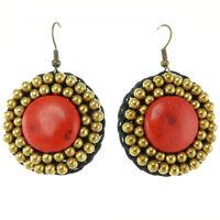 Boucles D'oreilles femme Pendantes ethniques rondes - Pierre rouge perles dorées