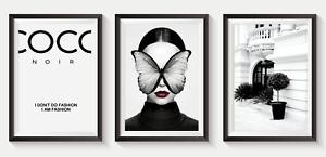 Set of 3 Fashion Art Prints Designer Perfume Bottle logo pink A5 A4 A3 S33
