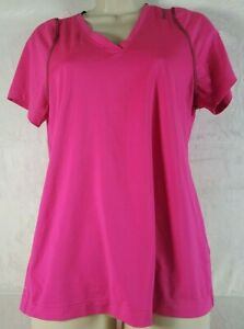 Reebook Shirt M Women Pink Short Sleeve V Neck Semi Fitted Activewear Polyester