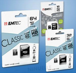 EMTEC Micro SD Speicherkarte 2GB 4GB 8GB 16GB 32GB 64GB Memory Card SDXC Full HD
