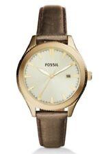 NWT Fossil Typographer Three-Hand Date Gold Polyurethane Watch BQ3314