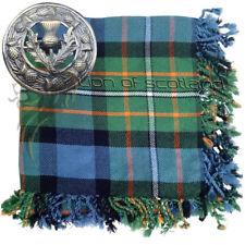"Highland Kilt Fly Plaid Dress Gordon Tartan 48"" x 48"" Thistle Brooch Antique 3"""