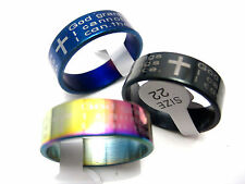 New 15pcs English the Serenity Prayer stainless steel rings big sizes