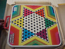 vintage Steel CHINESS CHECKERS & CHECKERS two part board in poor box,