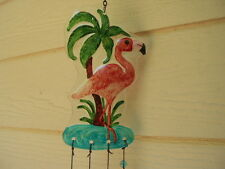 Large Pink Flamingo with 6 Bars 28 inch Art Glass Wind Chimes FREE SHIP