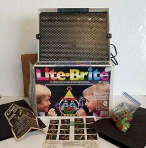 Vintage Lite-Brite original box manual and picture outline sheets preowned works