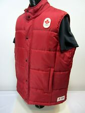 HUDSON'S BAYCo. HBC OLYMPIC Canada Men's XL RED PUFFER VEST Full Zip with Snaps