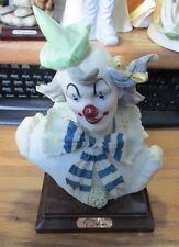 Rare A. Belcari Clown Figurine Sculpture by DEAR Signed Wood Base made in Italy