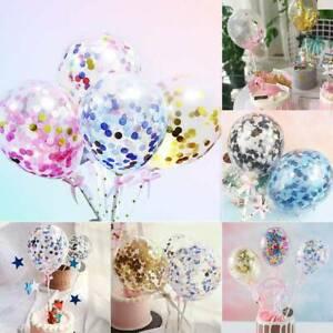 3 x Confetti Balloon Cake Topper Cake Confetti Balloons Mini Rose Gold Decor UK
