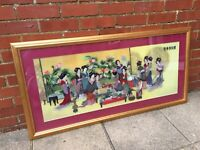 VERY LARGE FRAMED & GLAZED SIGNED OLD CHINESE SILK EMBROIDERY – TEA PARTY