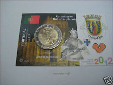 "2 euro conmemorativa Portugal 2012 UNC. ""guimaraes"" en coincard/info mapa"