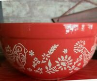"Pioneer Woman Stoneware 10"" Mixing Bowl w/Spout ~ ""Mazie"" ~ Red w/Vintage Design"