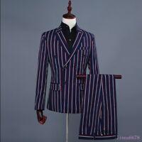 Chic Men's Blazers Double Breasted 2PCS Suits Coat Pants Stripe Wedding Clubwear