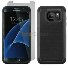 Hybrid Rubber Case+LCD Screen Protector for Android Samsung Galaxy S7 Edge Black
