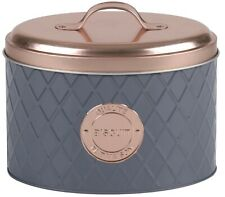 Copper Lid & Grey Cookie Tin Biscuit Container Modern Design