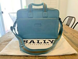 Bally Unisex Turquoise and Brown Leather Briefcase/ Laptop/ Bag