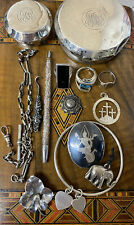 More details for vintage/antique/modern job lot solid silver jewellery watch chain, fobs etc 177g