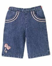 GYMBOREE NWT MADE WITH LOVE CAPRI JEANS SIZE 6-12 MONTHS BUTTERFLY DENIM PANTS