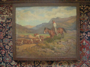 """Western Oil, """"Cowboy Astride Horse With Cattle Herd"""" by Stan Poray"""