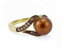 Pearl Ring -14K Yellow Gold Chocolate Brown Diamond & Chocolate Pearl Ring .19ct