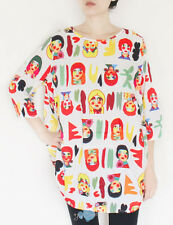 Colorful Faces Graphic Loose Fitting Casual Dress Skirt One Piece Top. Ship Free