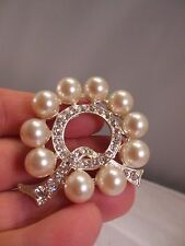 PRETTY SEW ON VTG. JEWELRY w/RHINESTONES & FAUX WHITE PEARLS (A61)