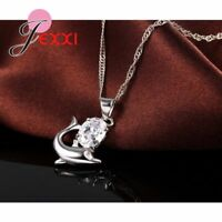 925 Sterling Silver Dolphin Crystal Cubic Zirconia Pendant And Necklace UK