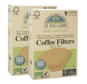 IF YOU CARE COMPOSTABLE UNBLEACHED COFFEE FILTERS NO. 2 SIZE - 2x100 Filters