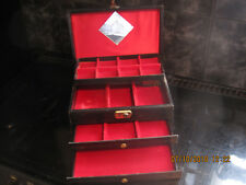Caja Musical Grande Vintage De Madera, Negro Material cubierto funciona leer más