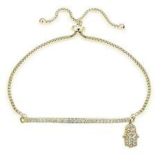 Gold Ton über Sterling Silber Zirkonia Hamsa & Leiste Einstellbar Armband
