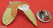 Flying Barn Owl Lapel Hat Tie Pin Badge Brooch Strigiformes Bird of Prey