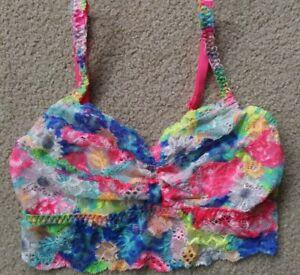 Cute Colorful Comfy Junior Sz S/P Victoria Secret PINK Nylon Lace Bralette EUC