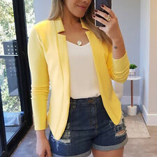 Women Slim Blazer Casual OL Work Jacket Long Sleeve Outwear Suit Coat Plus Size
