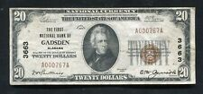 1929 $20 THE FIRST NATIONAL BANK OF GADSDEN, AL NATIONAL CURRENCY CH. #3663