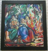 MYSTERY ARTIST MID CENTURY ABSTRACT EXPRESSIONIST PAINTING CAMP FIRE MUSICIANS