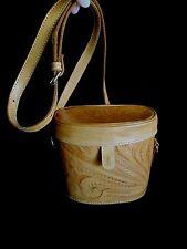 LL Leaders of Leather Tooled Handbag Purse Camera Bag Boho Hipster