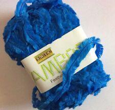 SWTC Bamboo Feather #235 Blue Short Eyelash Fringe Boa Yarn 88%Bamboo 50gr 110yd